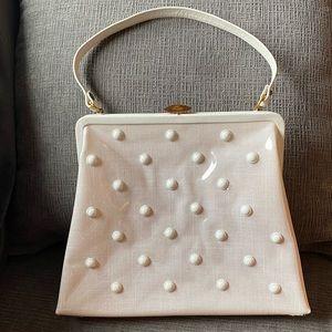 Vtg Maxim white plastic coated purse w/ white bead